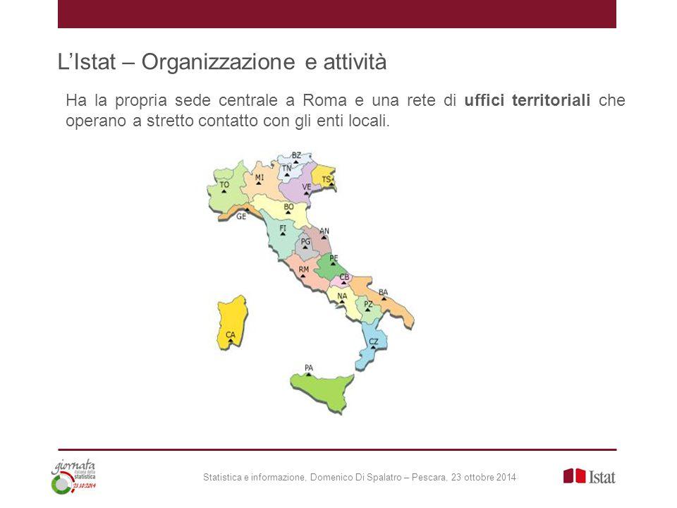 L'Istat – Organizzazione e attività Statistica e informazione, Domenico Di Spalatro – Pescara, 23 ottobre 2014 Ha la propria sede centrale a Roma e una rete di uffici territoriali che operano a stretto contatto con gli enti locali.