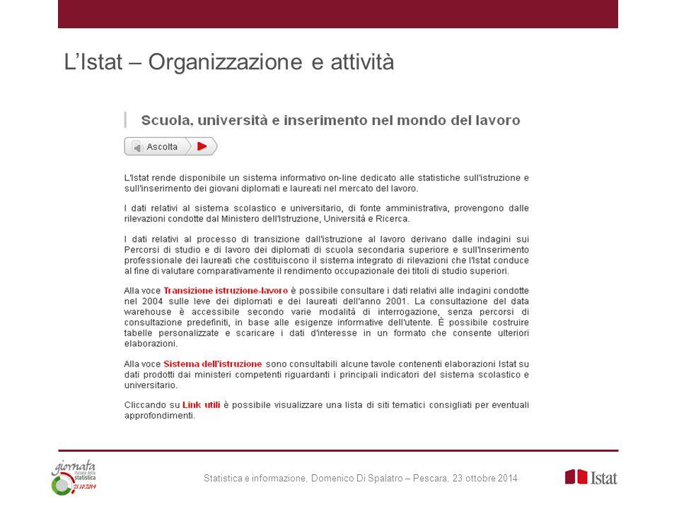 Statistica e informazione, Domenico Di Spalatro – Pescara, 23 ottobre 2014
