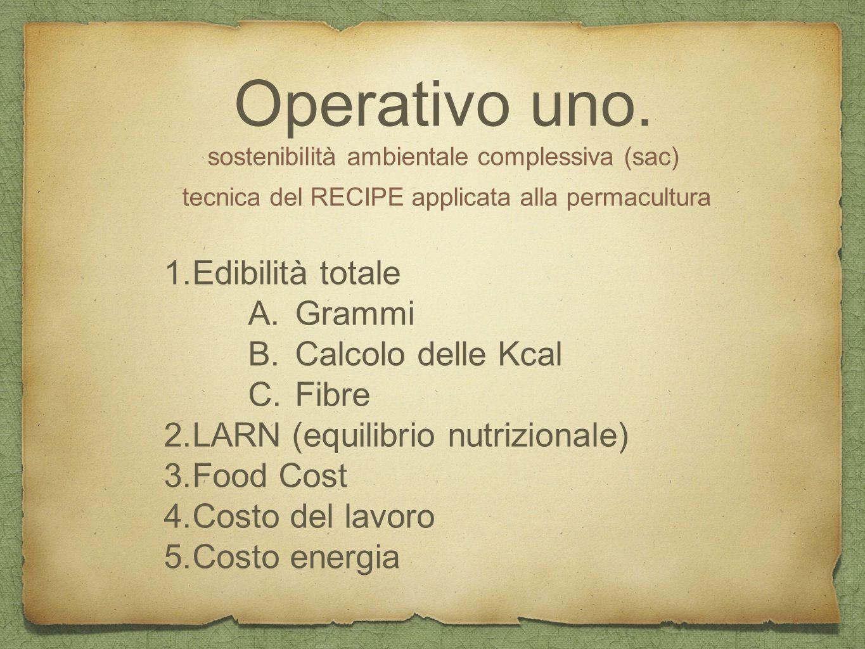 Operativo uno. sostenibilità ambientale complessiva (sac) tecnica del RECIPE applicata alla permacultura 1.Edibilità totale A.Grammi B.Calcolo delle K