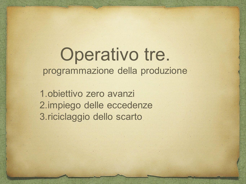 Operativo tre. programmazione della produzione 1.obiettivo zero avanzi 2.impiego delle eccedenze 3.riciclaggio dello scarto