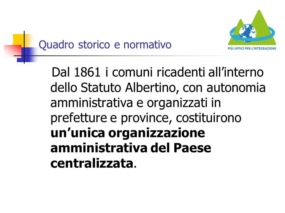 Quadro storico e normativo Dal 1861 i comuni ricadenti all'interno dello Statuto Albertino, con autonomia amministrativa e organizzati in prefetture e