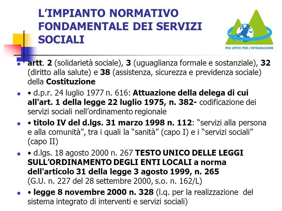 L'IMPIANTO NORMATIVO FONDAMENTALE DEI SERVIZI SOCIALI artt. 2 (solidarietà sociale), 3 (uguaglianza formale e sostanziale), 32 (diritto alla salute) e