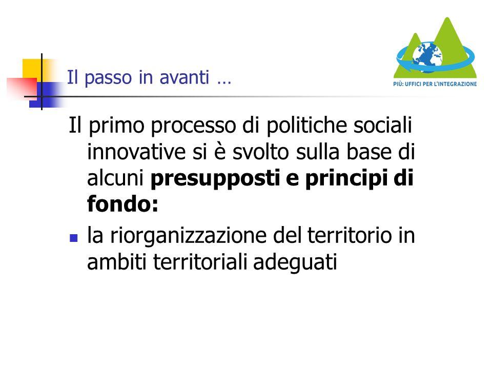 Il passo in avanti … Il primo processo di politiche sociali innovative si è svolto sulla base di alcuni presupposti e principi di fondo: la riorganizz