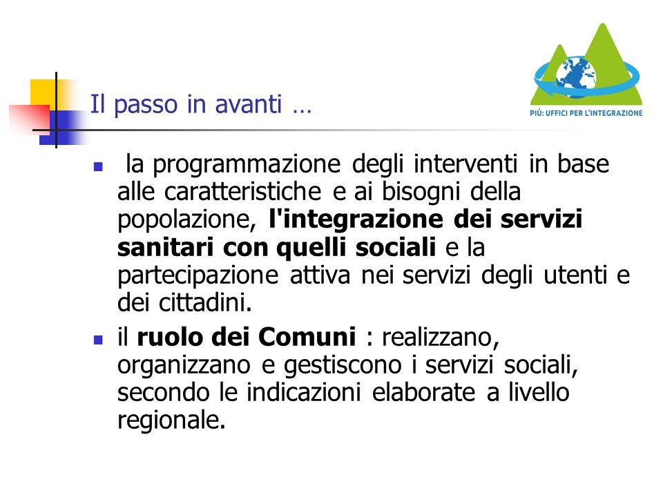 Il passo in avanti … la programmazione degli interventi in base alle caratteristiche e ai bisogni della popolazione, l'integrazione dei servizi sanita