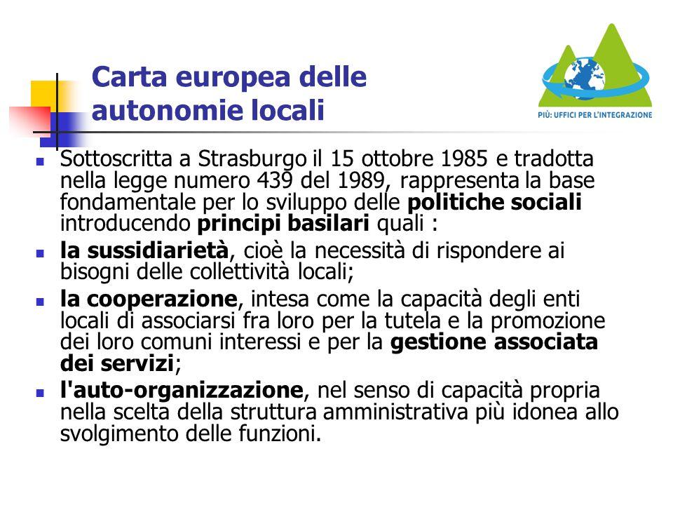 Carta europea delle autonomie locali Sottoscritta a Strasburgo il 15 ottobre 1985 e tradotta nella legge numero 439 del 1989, rappresenta la base fond