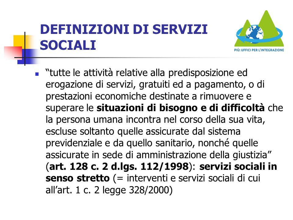 """DEFINIZIONI DI SERVIZI SOCIALI """"tutte le attività relative alla predisposizione ed erogazione di servizi, gratuiti ed a pagamento, o di prestazioni ec"""