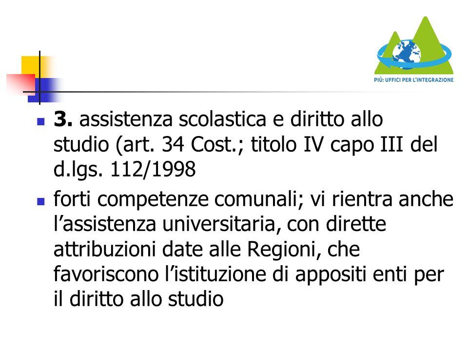 3. assistenza scolastica e diritto allo studio (art. 34 Cost.; titolo IV capo III del d.lgs. 112/1998 forti competenze comunali; vi rientra anche l'as