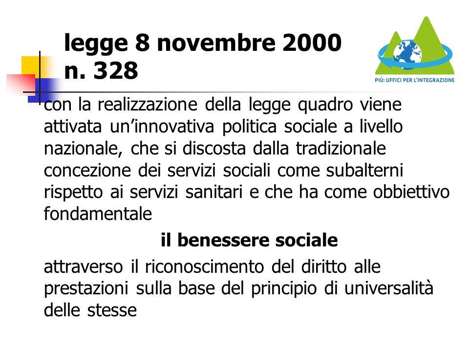 legge 8 novembre 2000 n. 328 con la realizzazione della legge quadro viene attivata un'innovativa politica sociale a livello nazionale, che si discost