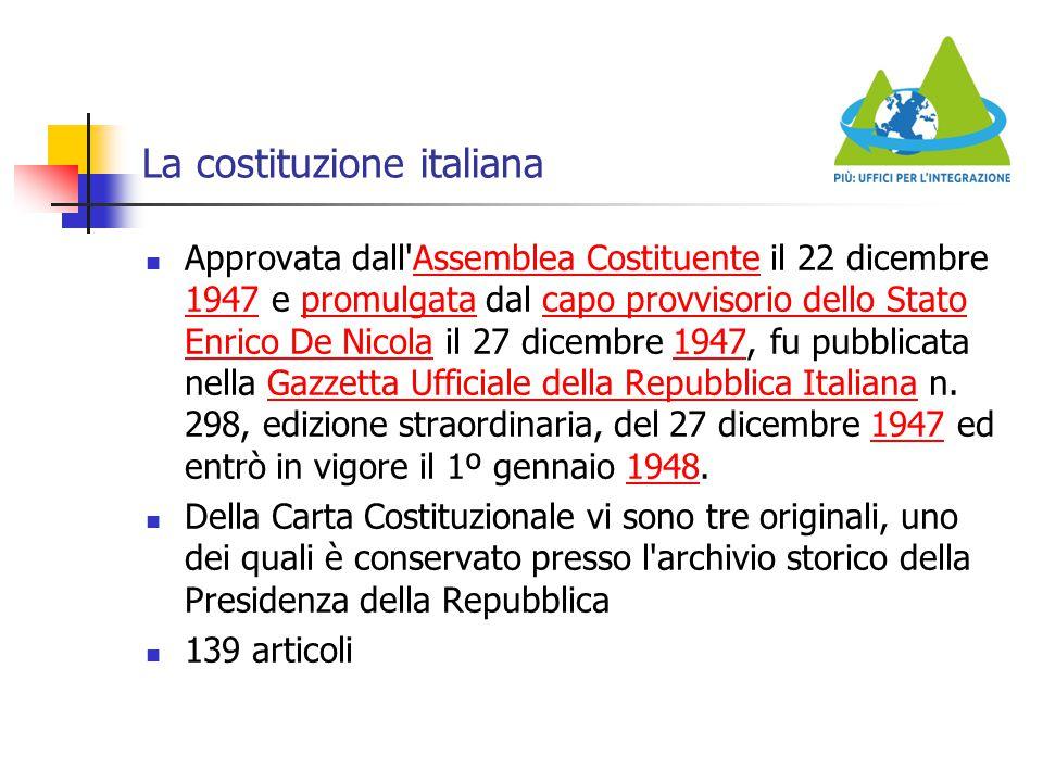 La costituzione italiana Approvata dall'Assemblea Costituente il 22 dicembre 1947 e promulgata dal capo provvisorio dello Stato Enrico De Nicola il 27