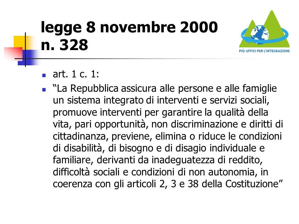 """legge 8 novembre 2000 n. 328 art. 1 c. 1: """"La Repubblica assicura alle persone e alle famiglie un sistema integrato di interventi e servizi sociali, p"""