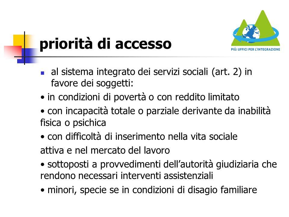 priorità di accesso al sistema integrato dei servizi sociali (art. 2) in favore dei soggetti: in condizioni di povertà o con reddito limitato con inca