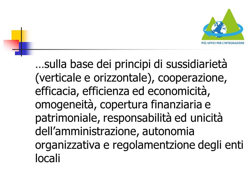 …sulla base dei principi di sussidiarietà (verticale e orizzontale), cooperazione, efficacia, efficienza ed economicità, omogeneità, copertura finanzi