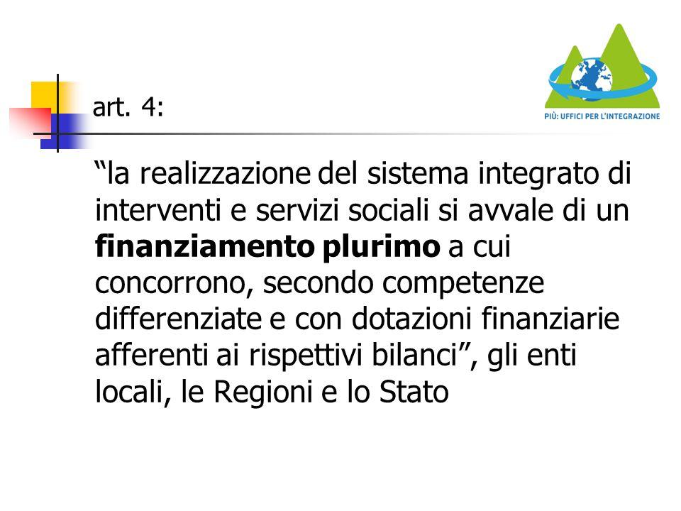 """art. 4: """"la realizzazione del sistema integrato di interventi e servizi sociali si avvale di un finanziamento plurimo a cui concorrono, secondo compet"""