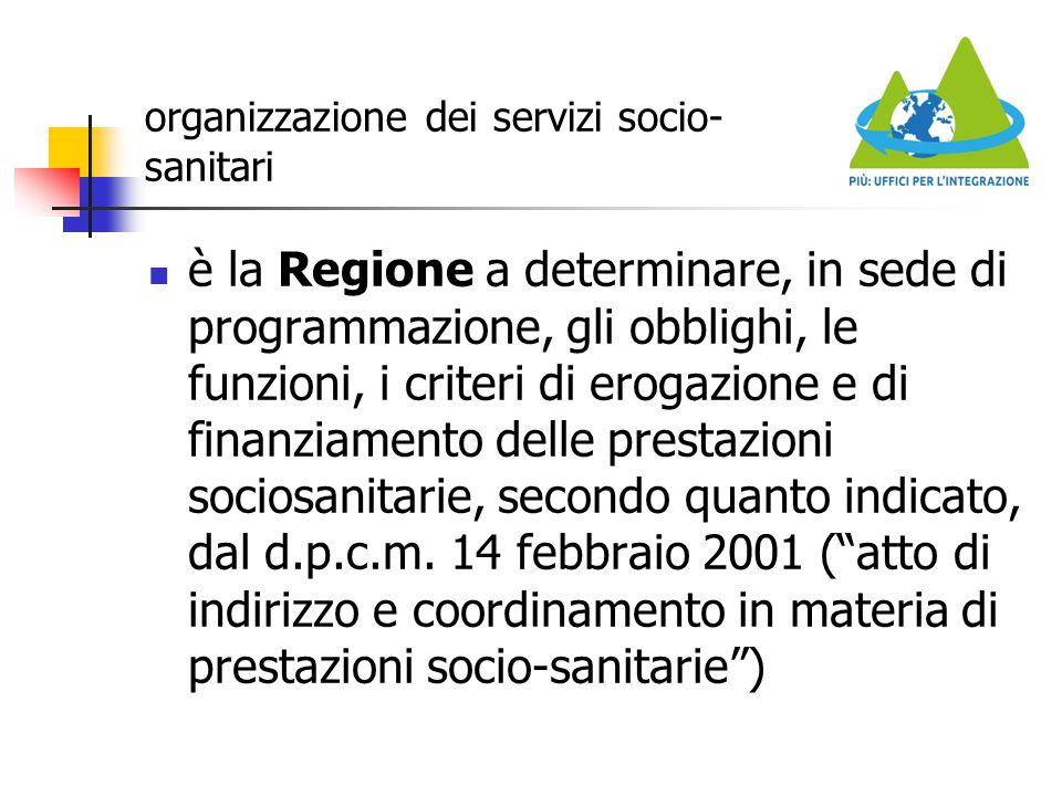 organizzazione dei servizi socio- sanitari è la Regione a determinare, in sede di programmazione, gli obblighi, le funzioni, i criteri di erogazione e