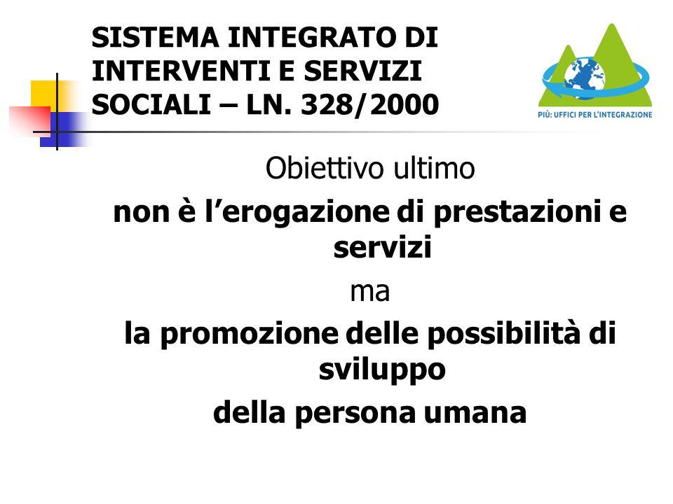 SISTEMA INTEGRATO DI INTERVENTI E SERVIZI SOCIALI – LN. 328/2000 Obiettivo ultimo non è l'erogazione di prestazioni e servizi ma la promozione delle p