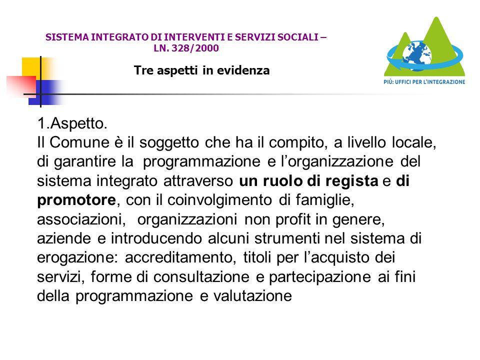 Tre aspetti in evidenza SISTEMA INTEGRATO DI INTERVENTI E SERVIZI SOCIALI – LN. 328/2000 1.Aspetto. Il Comune è il soggetto che ha il compito, a livel