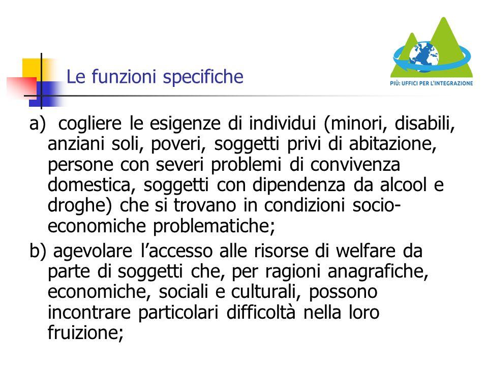 Le funzioni specifiche a) cogliere le esigenze di individui (minori, disabili, anziani soli, poveri, soggetti privi di abitazione, persone con severi