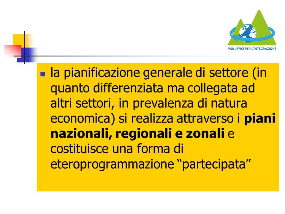 la pianificazione generale di settore (in quanto differenziata ma collegata ad altri settori, in prevalenza di natura economica) si realizza attravers