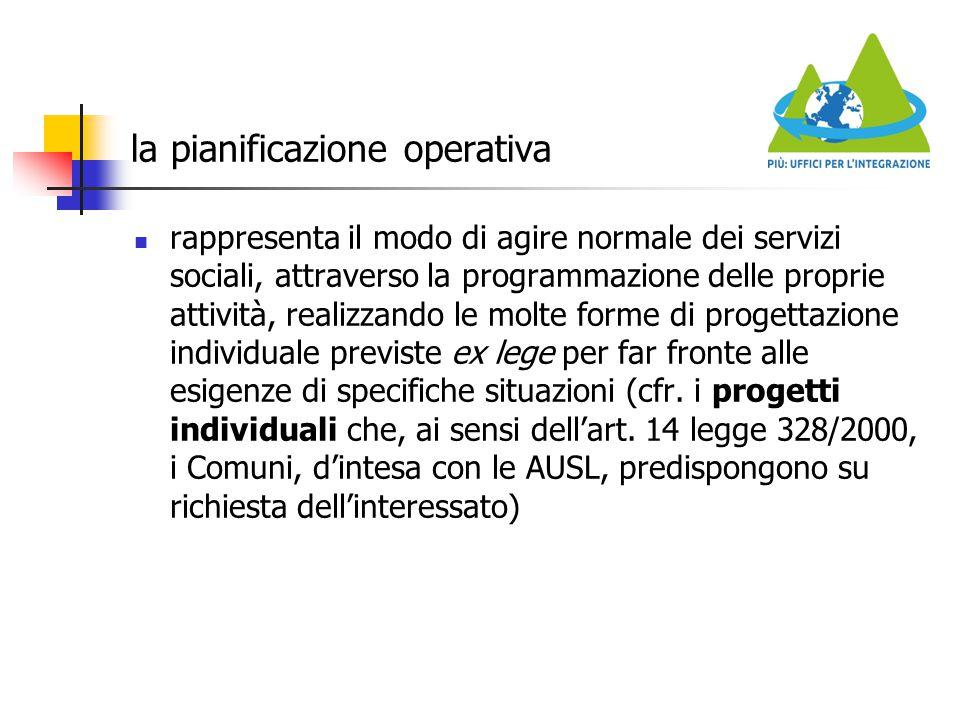 la pianificazione operativa rappresenta il modo di agire normale dei servizi sociali, attraverso la programmazione delle proprie attività, realizzando