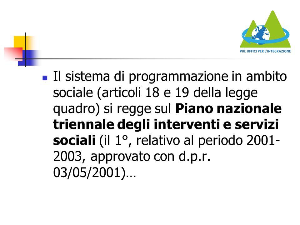 Il sistema di programmazione in ambito sociale (articoli 18 e 19 della legge quadro) si regge sul Piano nazionale triennale degli interventi e servizi