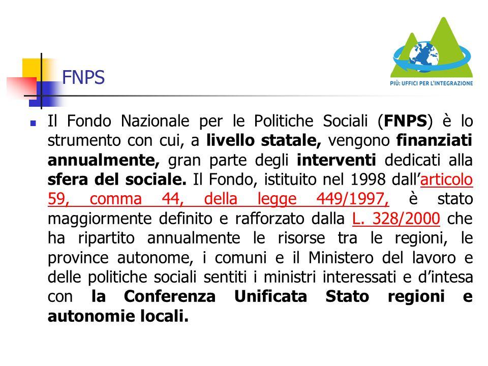 FNPS Il Fondo Nazionale per le Politiche Sociali (FNPS) è lo strumento con cui, a livello statale, vengono finanziati annualmente, gran parte degli in