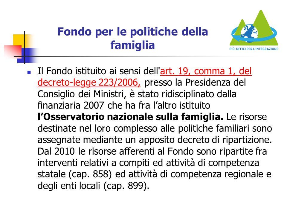 Fondo per le politiche della famiglia Il Fondo istituito ai sensi dell'art. 19, comma 1, del decreto-legge 223/2006, presso la Presidenza del Consigli