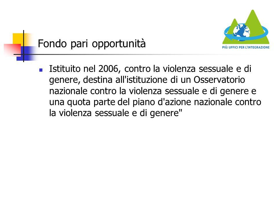 Fondo pari opportunità Istituito nel 2006, contro la violenza sessuale e di genere, destina all'istituzione di un Osservatorio nazionale contro la vio