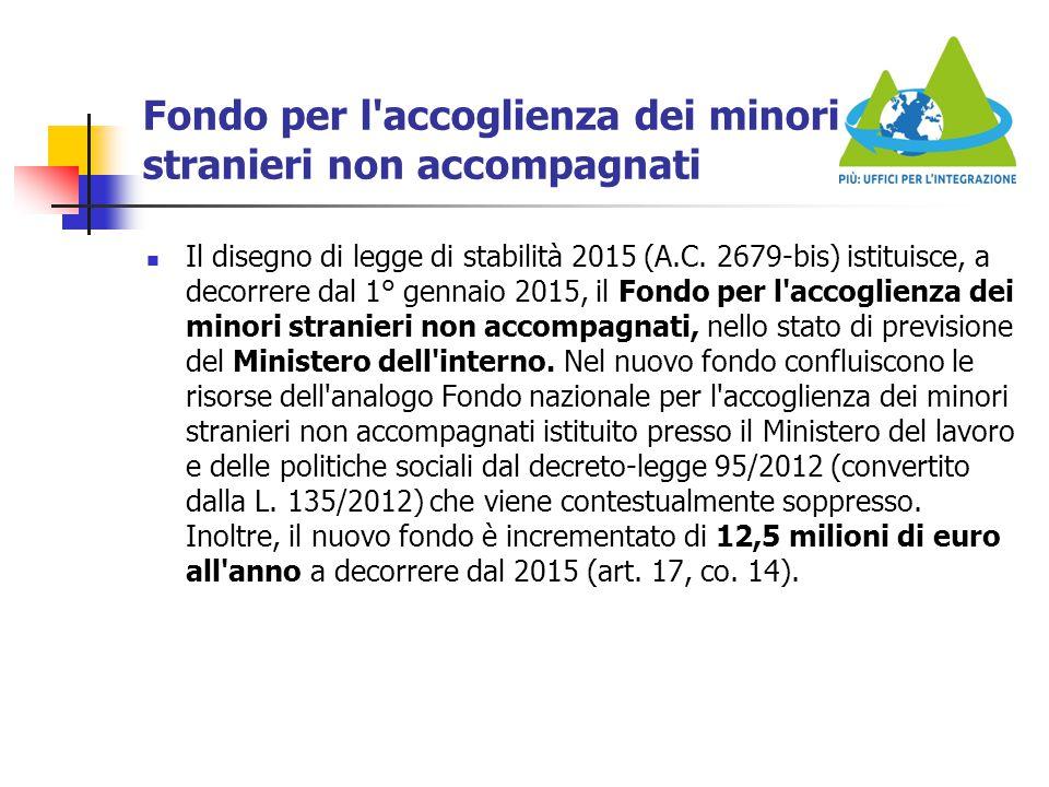 Fondo per l'accoglienza dei minori stranieri non accompagnati Il disegno di legge di stabilità 2015 (A.C. 2679-bis) istituisce, a decorrere dal 1° gen