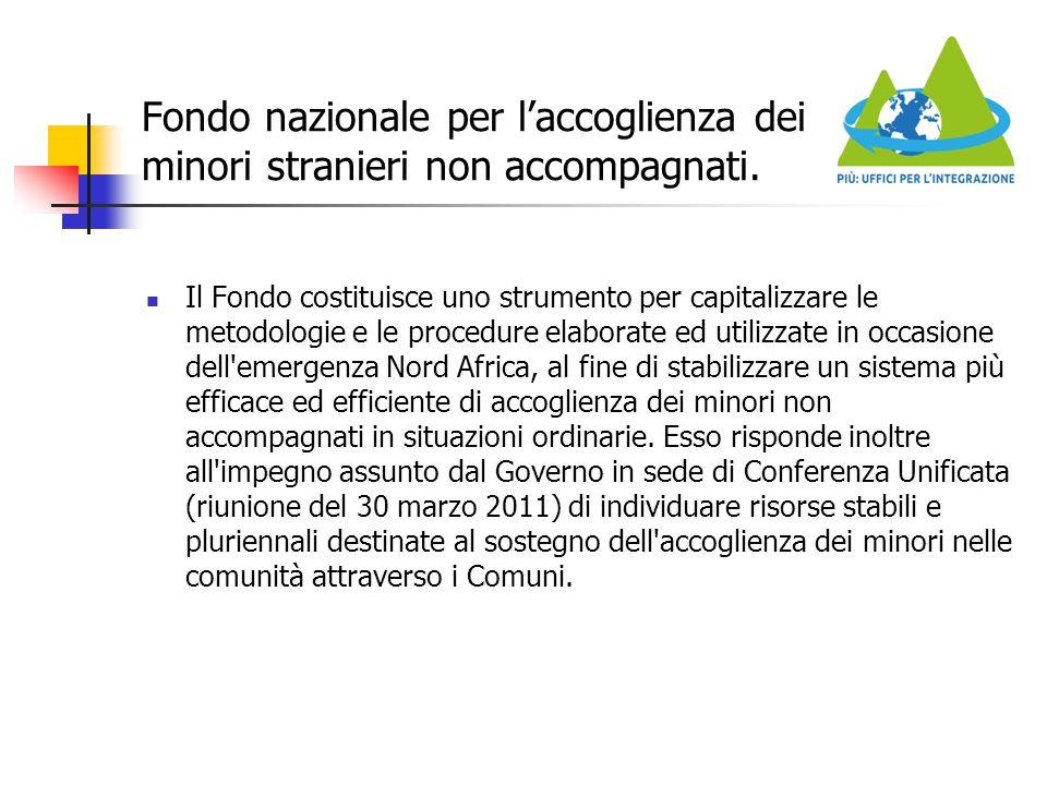 Fondo nazionale per l'accoglienza dei minori stranieri non accompagnati. Il Fondo costituisce uno strumento per capitalizzare le metodologie e le proc