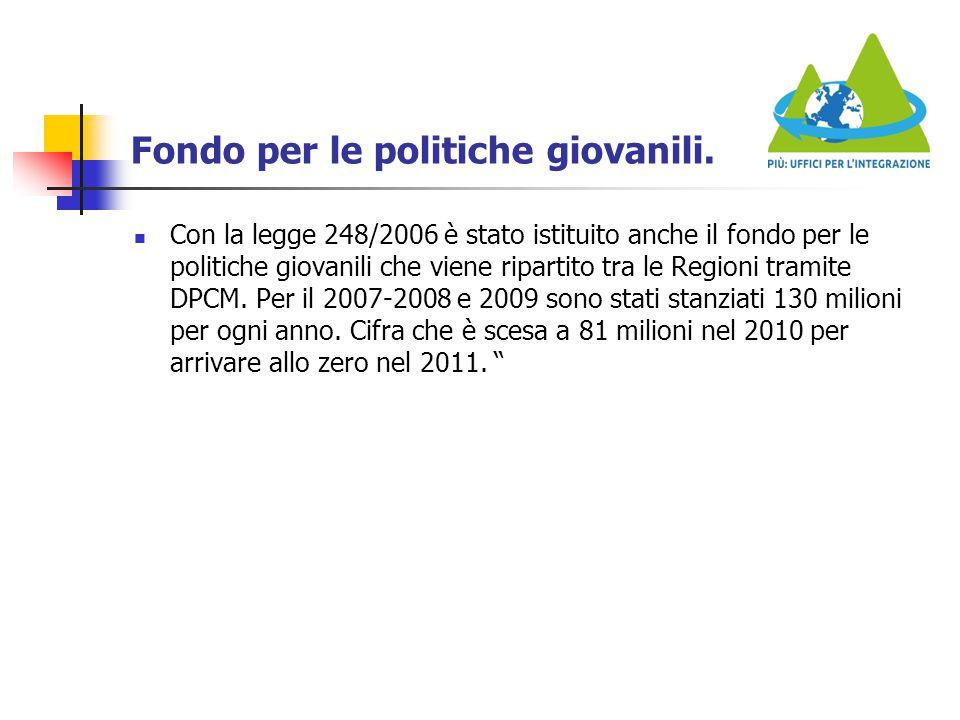 Fondo per le politiche giovanili. Con la legge 248/2006 è stato istituito anche il fondo per le politiche giovanili che viene ripartito tra le Regioni