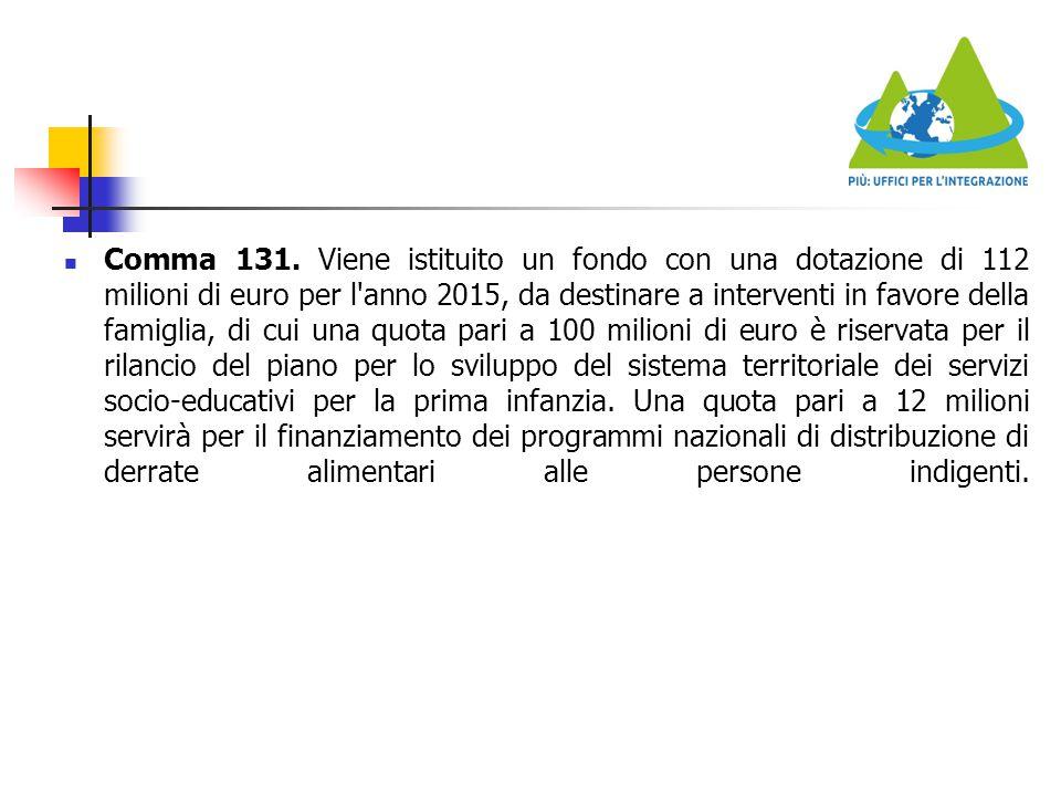 Comma 131. Viene istituito un fondo con una dotazione di 112 milioni di euro per l'anno 2015, da destinare a interventi in favore della famiglia, di c