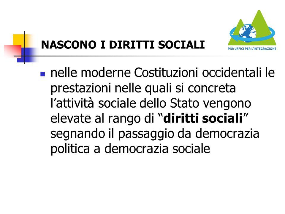 NASCONO I DIRITTI SOCIALI nelle moderne Costituzioni occidentali le prestazioni nelle quali si concreta l'attività sociale dello Stato vengono elevate