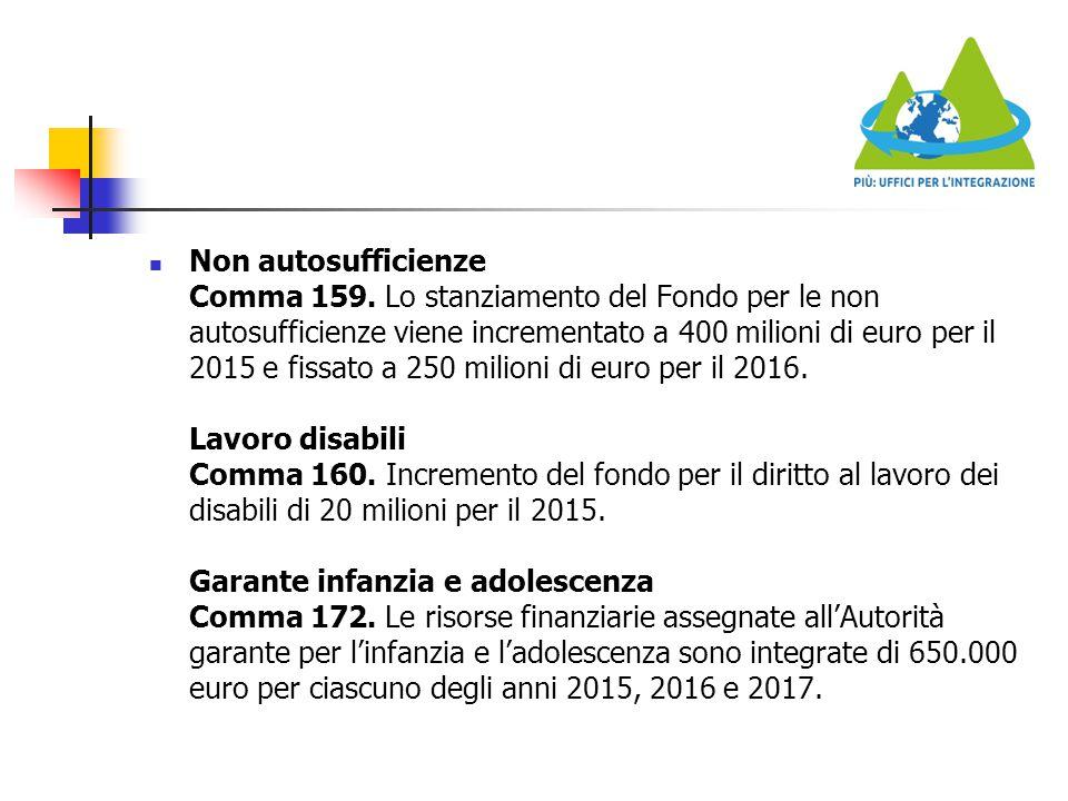 Non autosufficienze Comma 159. Lo stanziamento del Fondo per le non autosufficienze viene incrementato a 400 milioni di euro per il 2015 e fissato a 2