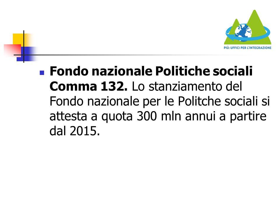Fondo nazionale Politiche sociali Comma 132. Lo stanziamento del Fondo nazionale per le Politche sociali si attesta a quota 300 mln annui a partire da
