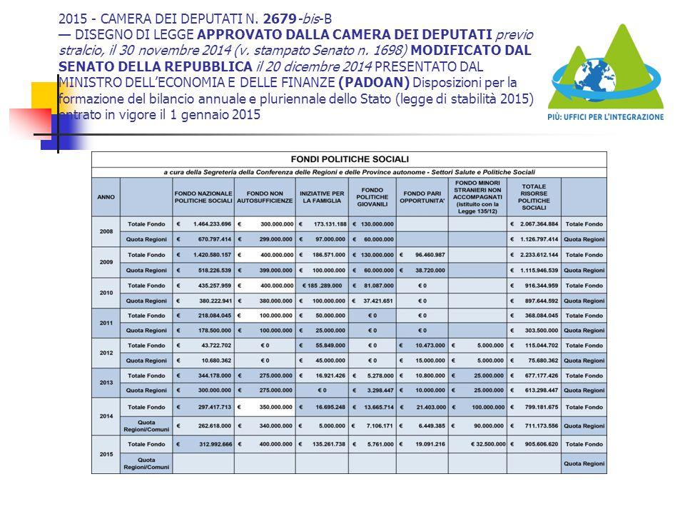 2015 - CAMERA DEI DEPUTATI N. 2679-bis-B — DISEGNO DI LEGGE APPROVATO DALLA CAMERA DEI DEPUTATI previo stralcio, il 30 novembre 2014 (v. stampato Sena