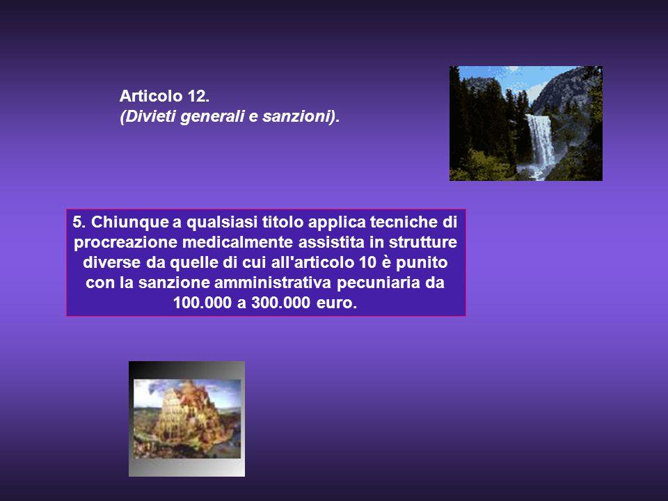 5. Chiunque a qualsiasi titolo applica tecniche di procreazione medicalmente assistita in strutture diverse da quelle di cui all'articolo 10 è punito