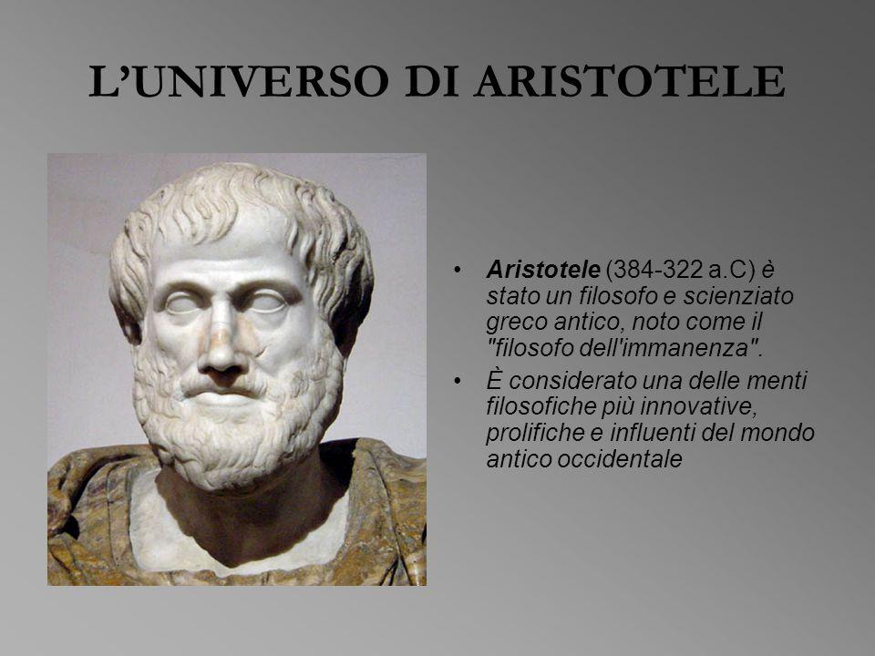 L'UNIVERSO DI ARISTOTELE Aristotele (384-322 a.C) è stato un filosofo e scienziato greco antico, noto come il filosofo dell immanenza .