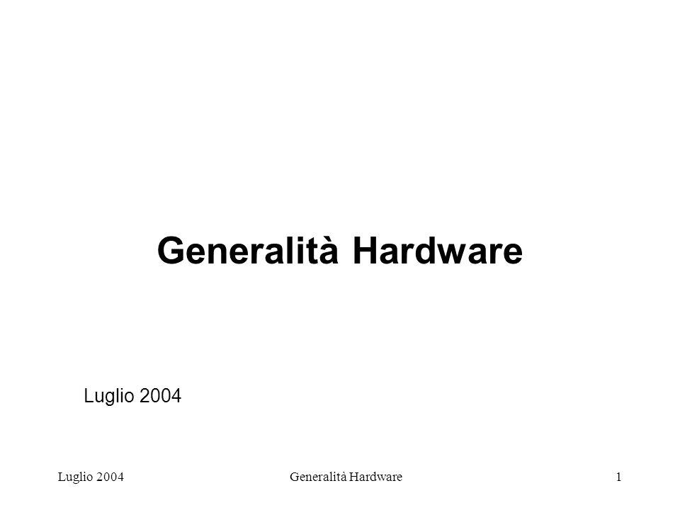 Luglio 2004Generalità Hardware12 PRODUZIONE DEI CHIP