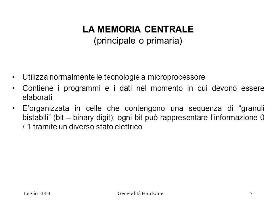 Luglio 2004Generalità Hardware6 LA MEMORIA CENTRALE (Cont.