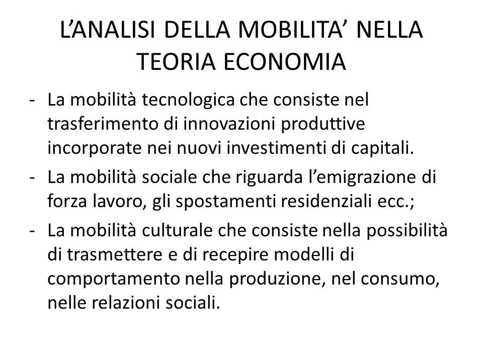 L'ANALISI DELLA MOBILITA' NELLA TEORIA ECONOMIA -La mobilità tecnologica che consiste nel trasferimento di innovazioni produttive incorporate nei nuovi investimenti di capitali.