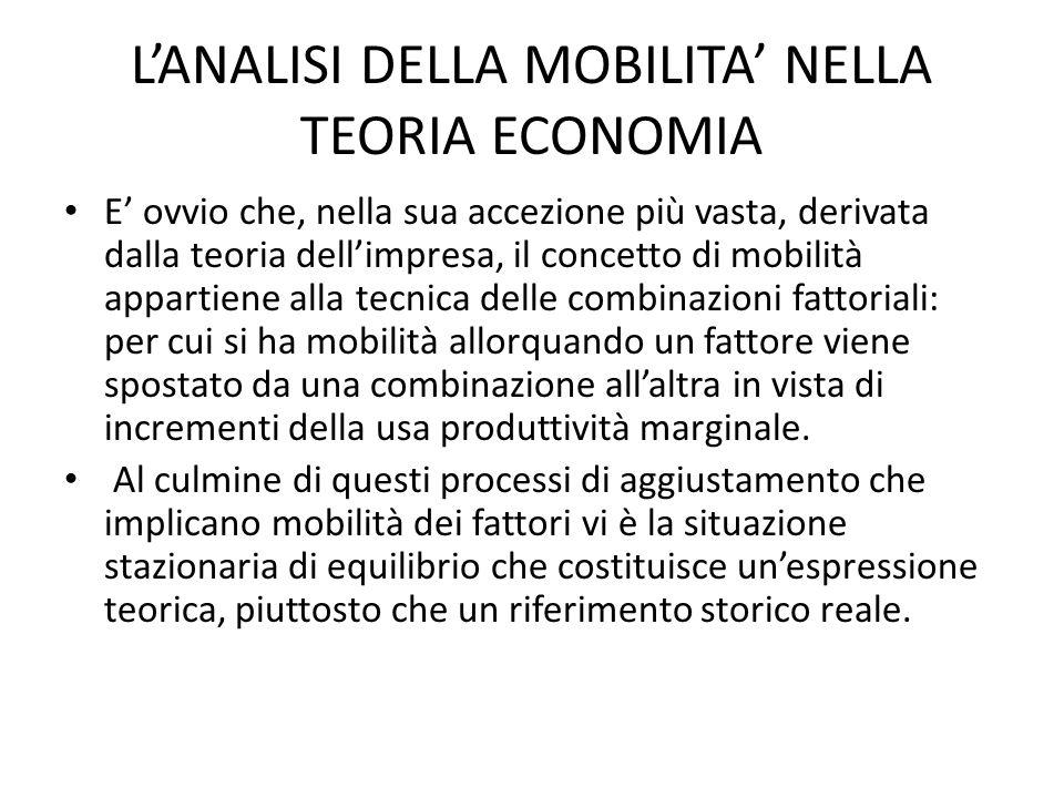 L'ANALISI DELLA MOBILITA' NELLA TEORIA ECONOMIA E' ovvio che, nella sua accezione più vasta, derivata dalla teoria dell'impresa, il concetto di mobilità appartiene alla tecnica delle combinazioni fattoriali: per cui si ha mobilità allorquando un fattore viene spostato da una combinazione all'altra in vista di incrementi della usa produttività marginale.