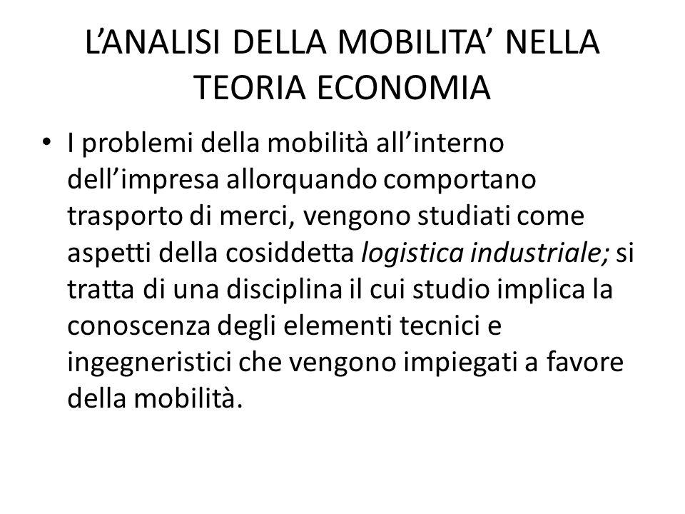 L'ANALISI DELLA MOBILITA' NELLA TEORIA ECONOMIA In altri termini, anche in una realtà economica a sviluppo ritardato si può riscontrare un eccesso di mobilità di natura patologica.
