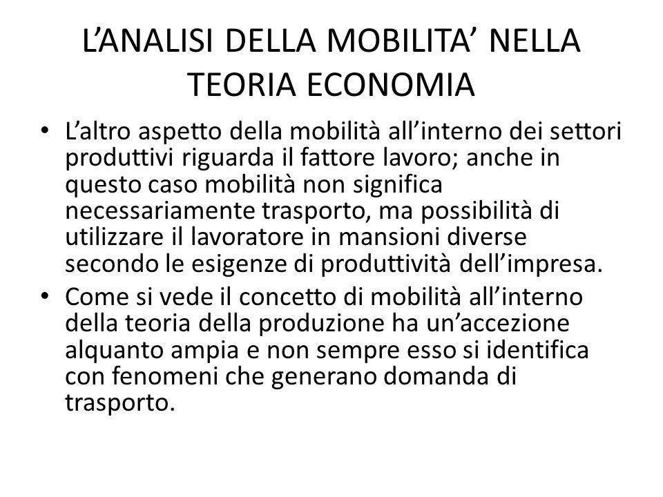 L'ANALISI DELLA MOBILITA' NELLA TEORIA ECONOMIA Sotto l'altro aspetto, quello dei consumi finali, la mobilità si esprime in domanda di trasporto strettamente correlata al livello di reddito, al progresso acquisito nell'organizzazione produttiva e distributiva, ai modelli di consumo della società.
