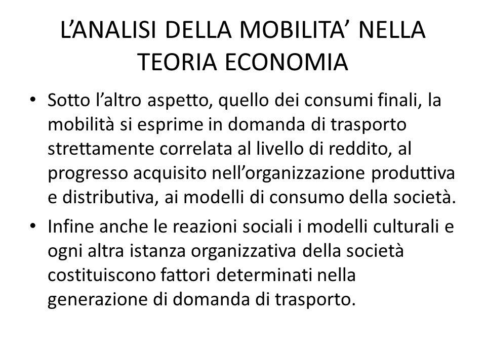 L'ANALISI DELLA MOBILITA' NELLA TEORIA ECONOMIA L'azione congiunta dei due ordini di valutazioni ( quelle individuali e quelle collettive) induce I.