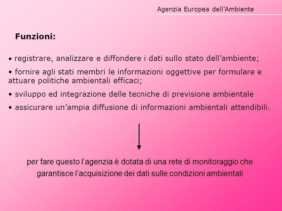Agenzia Europea dell'Ambiente Funzioni: registrare, analizzare e diffondere i dati sullo stato dell'ambiente; fornire agli stati membri le informazion