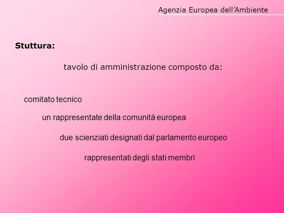 Agenzia Europea dell'Ambiente Stuttura: tavolo di amministrazione composto da: comitato tecnico un rappresentate della comunità europea due scienziati