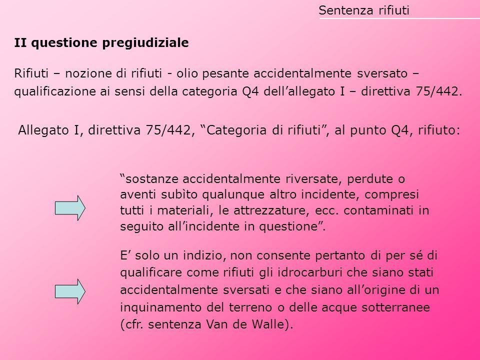 II questione pregiudiziale Rifiuti – nozione di rifiuti - olio pesante accidentalmente sversato – qualificazione ai sensi della categoria Q4 dell'alle