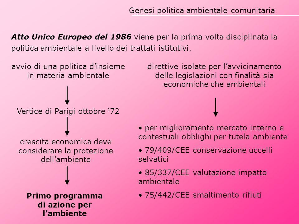 Principi nei Trattati istitutivi Atto Unico Europeo '86: obiettivi e principi del Primo Programma d'Azione elevati a diritto comunitario originario Trattato di Maastricht '92: obiettivo tutela ambientale, principio di precauzione, necessità di misure per risolvere problemi ambientali regionali e mondiali (Titolo XVI Trattato CE) Trattato di Amsterdam '97: conferma perseguimento elevato livello protezione ambientale (titolo XIX) Trattato di Nizza '01: procedure per l'adozione atti in materia ambientale Trattato di Lisbona '09: estensione della regolamentazione ai cambiamenti climatici (art.