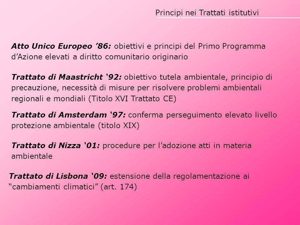 Principi nei Trattati istitutivi Atto Unico Europeo '86: obiettivi e principi del Primo Programma d'Azione elevati a diritto comunitario originario Tr