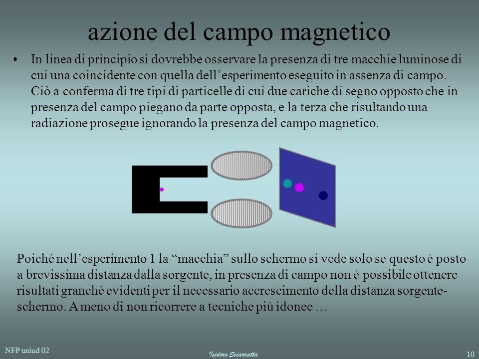 NFP uniud 02 Isidoro Sciarratta10 azione del campo magnetico In linea di principio si dovrebbe osservare la presenza di tre macchie luminose di cui un